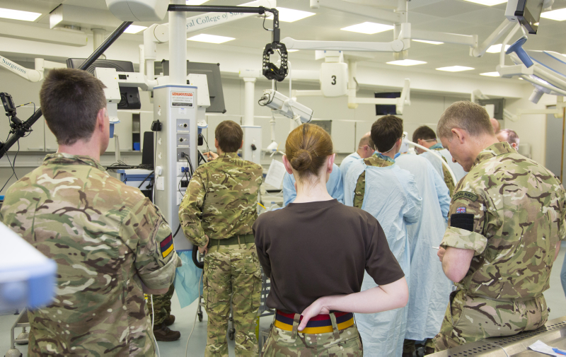 Pictured are service personnel during a MAST Course Training at The Royal College of Surgeons - Fri 18 Mar 2016.  Images show trauma and orthopaedic surgery using innovative simulation (utilising high fidelity simulated mannequins and cadavers) on the Military Operational Surgical Training Course at the Royal College of Surgeons, Lincoln's Inn Fields London.  The UK military uses cutting edge and innovative surgical techniques and if a good career option for a medical professional who wants to serve their country and challenge themselves in the technical and leadership fields.  The UK military uses cutting edge and innovative surgical techniques to ensure that its people receive the best possible care and chance of recovery.